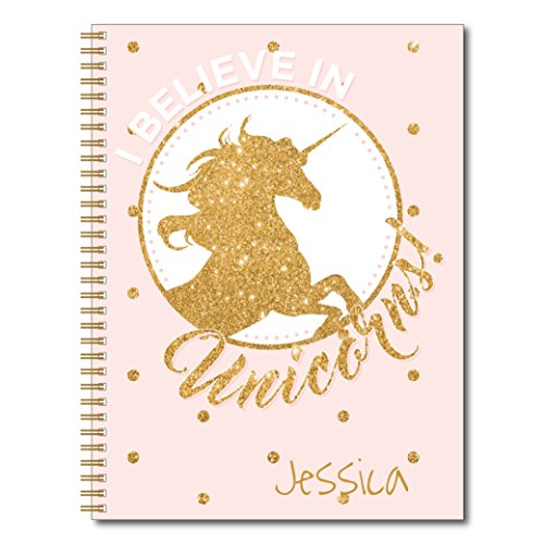 Golden Unicorn Personalized Fantasy and Glitter Notebook/Journal, 120 Wide Ruled or Checklist Pages, durable laminated cover, and wire-o spiral. 8.5x11 | 5.5x8.5 | Made in the USA -