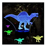 Night Lights for Kids Illusion Dinosaur Toy Birthday Gifts Optical Desk Lamp Table Touch Walking Animal Light Party Western Children Room Decor Bedroom Nursery 7 Color Changing USB Spinosaurus