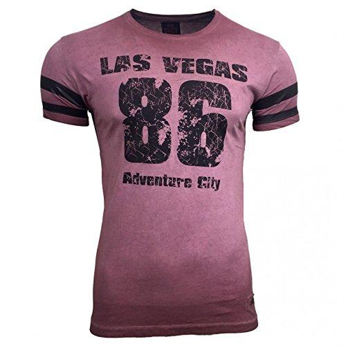 AVRONI Clubwear Kurzarm Herren Rundhals T-Shirt Washed Optik Shirt RN-16729, Größe:M, Farbe:Bordo