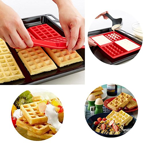 Silicone Mini Ice Cube Tray | Waffle Ice Mold | Candy Cake Chocolate Mold | Red