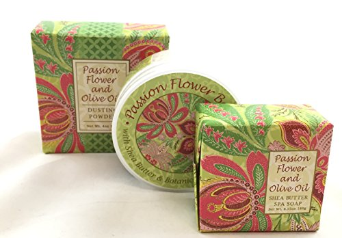 Greenwich Bay PASSION FLOWER 3 Piece Beauty Gift Set of : BODY BUTTER, SPA SOAP, and DUSTING POWDER - 3 Piece Tanning Set