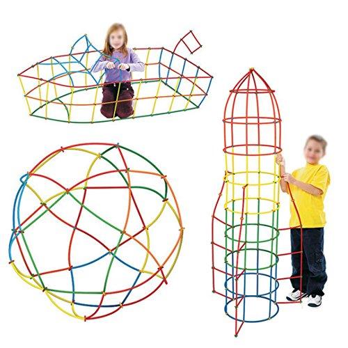 (Aisi Mily Children Straws and Connectors Building Toys Colorful Interlocking Plastic Enginering Toys Fine Motor Skills Interlocking STEM)