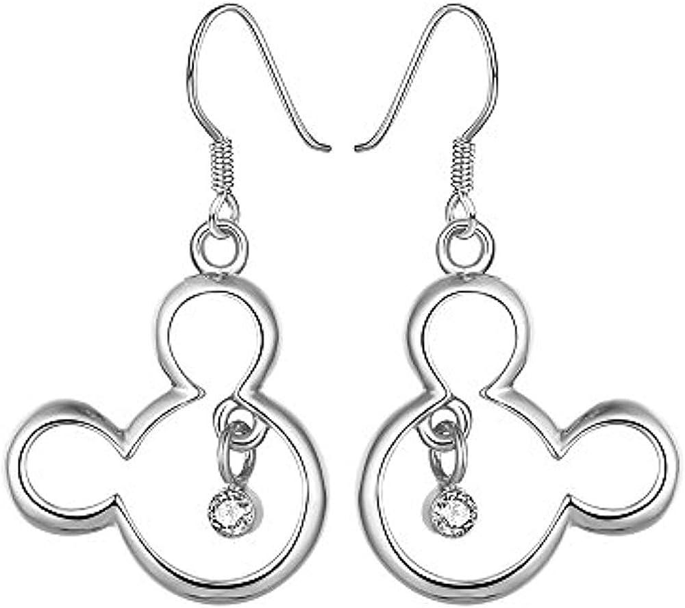 Disney Mickey Earrings 14K White Gold Plated Round Black CZ Screwback Earrings Jewellery