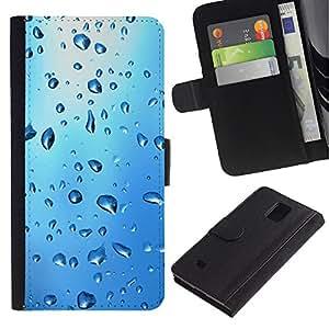 Planetar® Modelo colorido cuero carpeta tirón caso cubierta piel Holster Funda protección Para Samsung Galaxy Note 4 IV / SM-N910 ( Blue Water Drop )