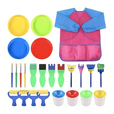 Beher Kids Paint Brush 25 Pack Early Learning Mini Flower Sponge Painting Brushes Washable Foam Roller Craft Sponge Paint Brushes Waterproof Apron for Kids Toddlers: Toys & Games