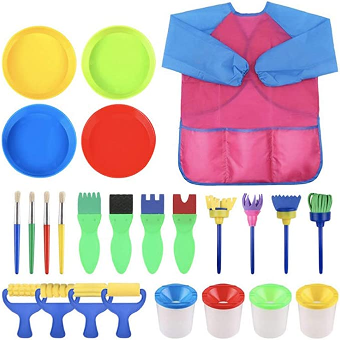 30 Pack Sponge Drawing Brush kit for Toddlers Early Learning Inheming Kid Painting Tool Set Shapes Paint Craft Brushes with Waterproof Art Painting Smock Apron