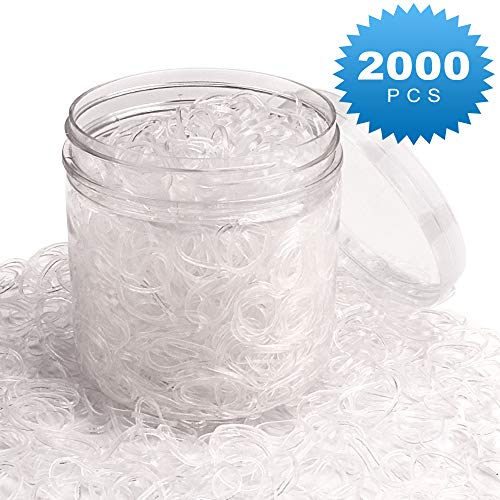 CIEHER Pack of 2000 Mini Clear HairBands Soft Elastic Bands for women Hair, Braids Hair, Wedding Hairstyle and More (clear)