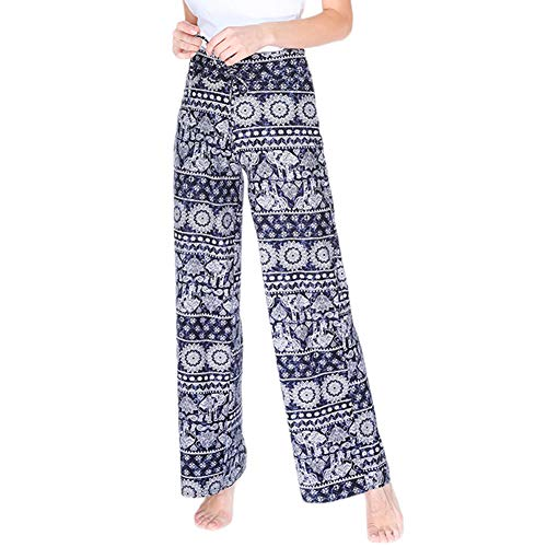 Buttery Soft Pajama Pants for Women - Floral Print Drawstring Casual Palazzo Lounge Pants Wide Leg for All Seasons (XL, Elephant)