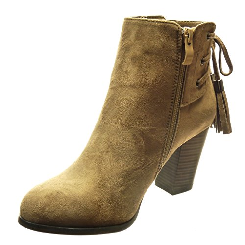 Angkorly Pom Shoes Women's 7 Fashion High Booty Boots High Taupe Fringe Laces Pom cm 5 Block Ankle cm Heel rfArq8w