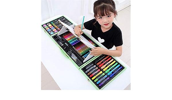 HUATAN Lapices de Dibujo Set Pinturas niños, Kit Dibujo Kit Manualidades para niños maletin Colores para niños,Verde: Amazon.es: Hogar