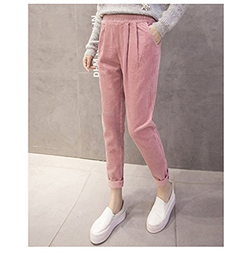 (Dormery Casual Corduroy Pants Elastic Waist Plus Size Korean Loose Capris Solid Cotton Pleated Harem Pants B7N009Z Pink S)