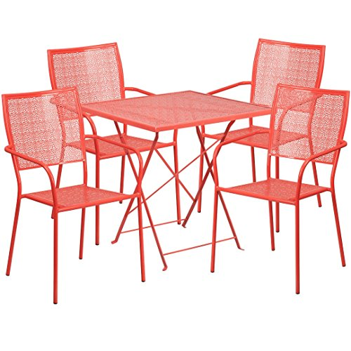 MFO 28'' Square Coral Indoor-Outdoor Steel Folding Patio Table Set with 4 Square Back Chairs