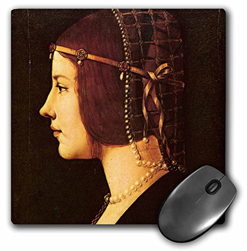 3dRose BLN Leonardo da Vinci Collection - Portrait of Beatrice DEste by Leonardo da Vinci 1491 - MousePad (mp_126662_1)