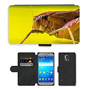 CARD POCKET BOOK CASE PU LEATHER CASE // M00147442 Saltamontes viridissima Insectos susto // Samsung Galaxy S5 S V SV i9600 (Not Fits S5 ACTIVE)