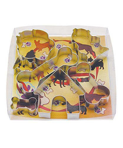 R&M International 1947 Dog Cookie Cutters, House, 2 Fire Hydrants, Paw, 3 Bones, 7-Piece Set Dog House Cookie Cutter