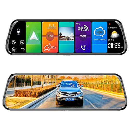 LY-QCYP Dash cams 10 inch Full Screen Streaming Media 4G Smart GPS Rearview Mirror 150° HD Night Vision 1080P1200px, Support 4G, WiFi, Bluetooth, Collision Sensing, Parking Monitoring