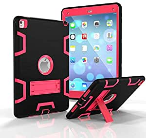 Aleesh Rubber Shockproof Heavy Duty Tough Cover Smart Case For Apple iPad Air2 /6 (Black and Rose Red)
