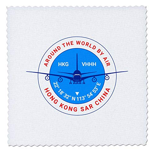 3dRose Alexis Design - Around The World by Air - Round Badge, a Blue Airliner. Red Text Hong Kong SAR China, Location - 14x14 inch Quilt Square (qs_303396_5)