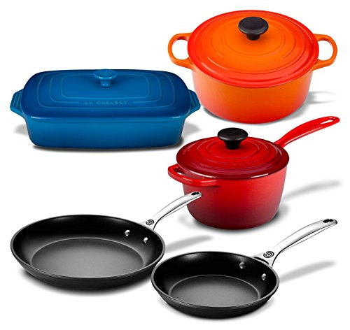 Le Creuset 8 Piece Multi-Purpose Enameled Cast Iron, Stoneware, and Toughened Non Stick Complete Cookware Set (Multi-Colored)