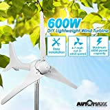 Automaxx Windmill 600W (12V / 24V) (50A / 25A) Wind Turbine Generator kit. MPPT charge controller included (Amp, Volt & Watt display) + automatic and manual braking system. DIY installation.