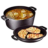 Heavy Duty Pre-Seasoned 2 In 1 Cast Iron Double Dutch Oven and Domed...