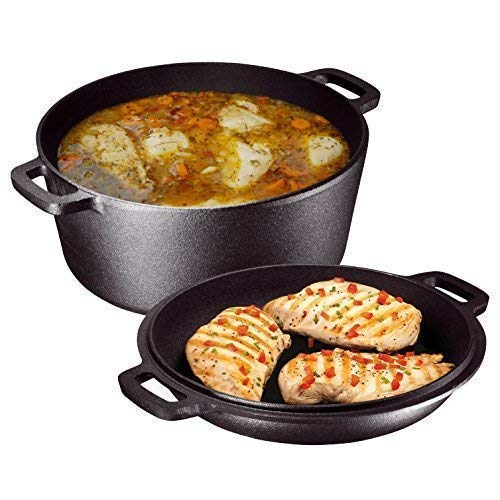 - Heavy Duty Pre-Seasoned 2 In 1 Cast Iron Double Dutch Oven and Domed Skillet Lid, Versatile Healthy Design, Non-Stick, 5-Quart