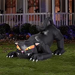 6' Lighted Animated Black Cat Halloween Inflatable - Airblown Gemmy Yard Decor