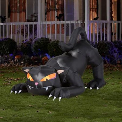 6' Lighted Animated Black Cat Halloween Inflatable - Airblown Gemmy Yard Decor -
