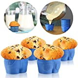 Food-Grade silicone Silicone Molds Including Mini Jeans Style 4 Cups,1 Set(4Pcs) Silicone Muffin Tops Cupcake Cake Mold Jeans Style Mould Bakeware Cupcakes Thanksgiving Cupcake Maker (Blue 4pcs)