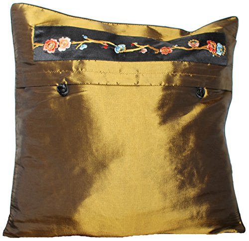 - EASTGOODIES 2 PCS/Taffeta Silk Floral Decorative Pillow Cushion Shining Cover Case Sham - Gold Bronze