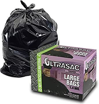 UltraSac 33 Gallon Trash Bags - (HUGE 100 Pack /w Ties) - 39' x 33' Heavy Duty Large Professional Quality Black Garbage Bags - Extra Strong Plastic Trashbags for Home, Kitchen, Lawn, and other