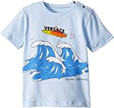 Versace Kids Baby Boy's Short Sleeve Wave Graphic T-Shirt (Infant/Toddler) Light Blue 36 Months