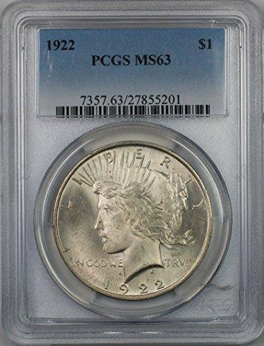 1922 Peace Silver Dollar Coin $1 PCGS MS-63 (1O)