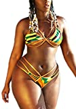 CFR Women's Tribal Two Pieces Bikini Set African Metallic Swimsuit Suit Cut Out Halter Neck Lace up Push up Top Bathing Suits Swim Beach Wear - #4,S UPS Post