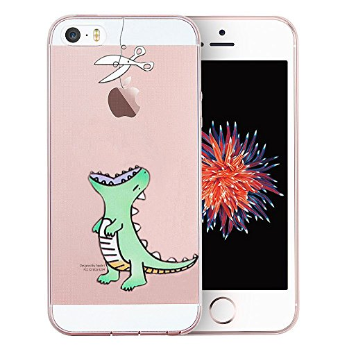 Unov Case Clear with Design Embossed Pattern TPU Soft Bumper Shock Absorption Slim Protective Cover for iPhone SE iPhone 5s iPhone 5(Mint Dinosaur)