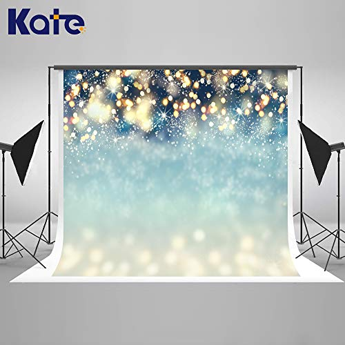 Kate 8×8ft Bokeh Dots with Snowflakes Photo Backdrops Christmas Blue Glitter Background Winter Backdrops for Photography Fabric Cotton Cloth Seamless Props