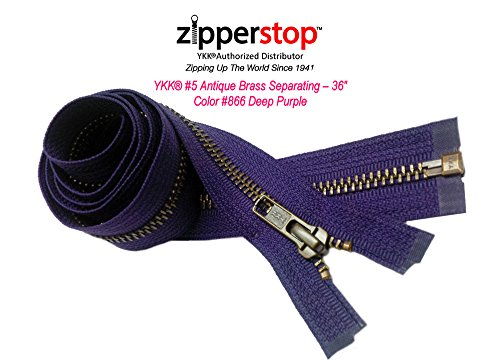 Zipperstop Wholesale YKK®- Jacket Zippers YKK® #5 Antique Brass- Metal Teeth Separating for Crafter's Special Color Deep Purple # 866 Made in USA -Custom Length (24 inches) (Zipper Purple)