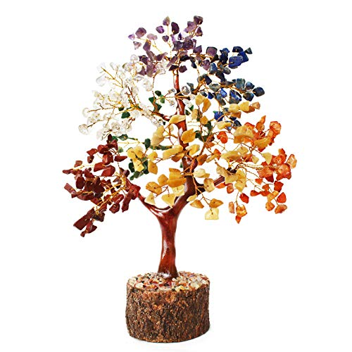Selten 400 Stone Home Décor Fengshui Vastu Crystal Tree in 7 Chakra Gemstones Multi Color, 11 Inches Height