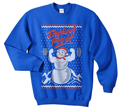 Sanfran - Jacked Frost Top Funny Weightlifting Gym Crossfit Jack Ugly Jumper Sweater (Royal Blue, Medium)