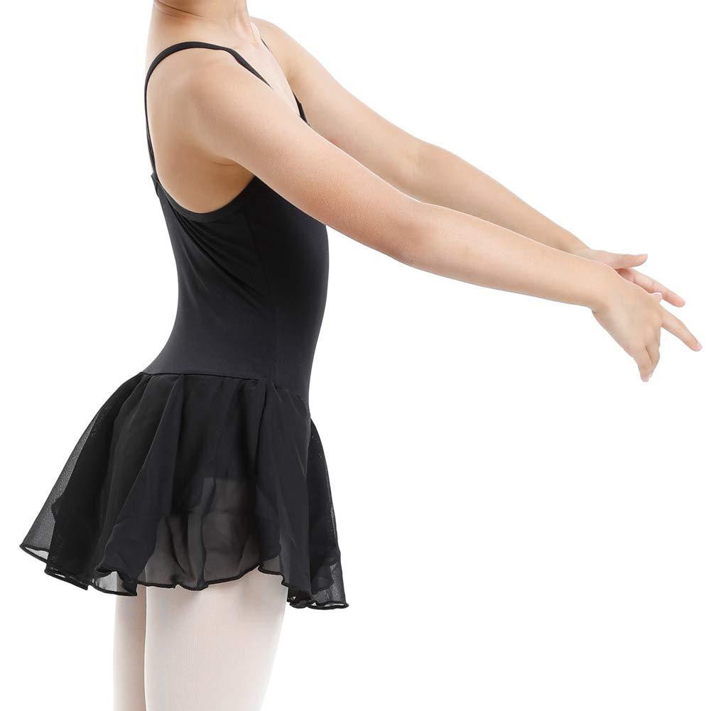 DANCEYOU Girls Strap Camisole Ballet Dresses Dance Leotard with Skirt for Height 95cm-145cm