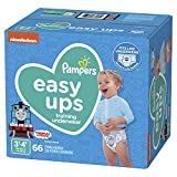 Pampers Easy Ups Diapers Size 5 (3T-4T), Pull On Disposable Training Diaper for Boys, SUPER PACK, 66 Count
