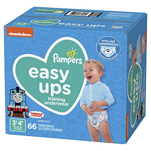 Pampers EasyUps Training Pants Pull On Disposable Diapers for Boys, 3T-4T, 66 Count, SUPER PACK (Mark Shirt Martin)