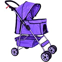 Pet Stroller Cat Dog Cage Travel Folding Carrier 4 Wheels Purple #431