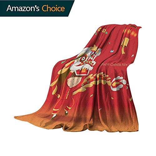 Chinese New Year King Size Blanket,Little Boy Performing Lion Dance with The Costume Flowering Branch Lantern Microfiber All Season Blanket for Bed or Couch,35