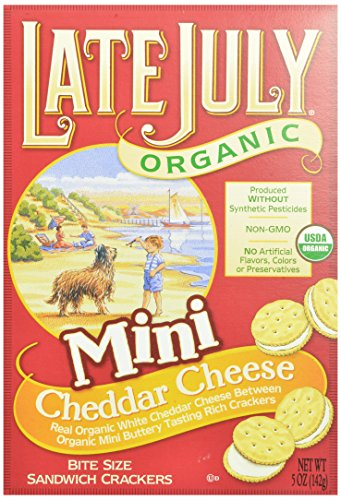 July Box (Late July Organic Mini Cheddar Cheese Bite Size Sandwich Crackers, 5-Ounce Boxes (Pack of 12))