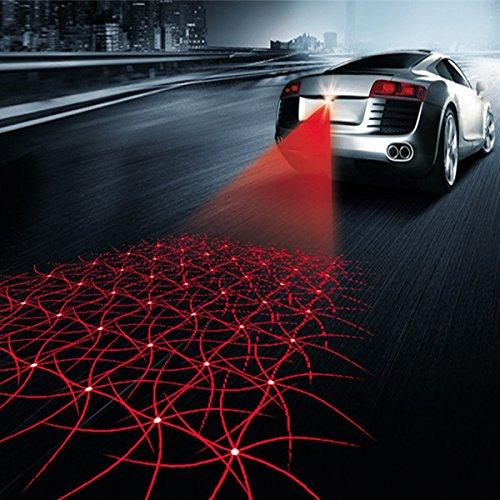 XINDELL Car Fog Light 12V Styling Multi Shape Anti Collision Rear-end Car Laser Tail LED Auto Brake Auto Parking Car Warning Light (Disco Style)