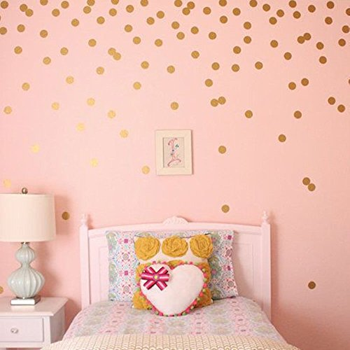 Gold Foil Wallpaper - Pricuitie Decorative Gold Dot Wall Stickers, Metallic Foil Decals Home Decoration Room Background Art Mural Wallpaper For Kid Room Bedroom 2 Sets(108 Decals)