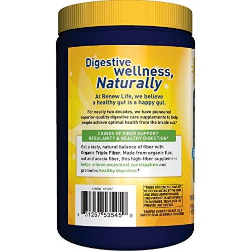 عروض Renew Life Adult Fiber Supplement - Organic Triple Fiber, Dietary Fiber - 12 Ounces