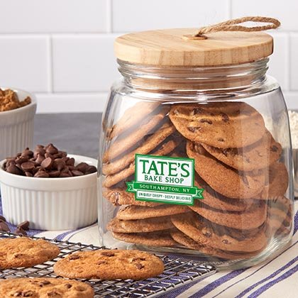 Tate's Bake Shop Glass Cookie Jar with Cookies