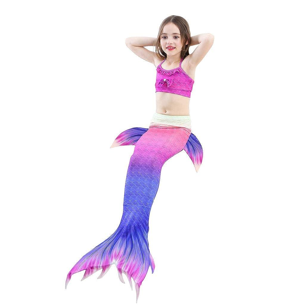 Auspicious beginning Ragazze Fantasia Colore 3Pcs Sirena Principessa Costume da Bagno